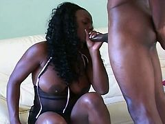 Jada Fire and Trinity James have a steamy fuck in which everything goes. Jada lets him penetrate all her holes, including her tight ass hole. He dumps his load in her mouth.