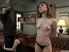 James Deen is playing dirty games with Violet Monroe and her pretty GF. He binds the chicks, makes them fist one another's holes and them fucks their vags and asses as hard as he can.