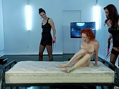 Well, seems like this redhead siren is in deep trouble or she is going to love what these two mistresses are going to do with her. BDSM!