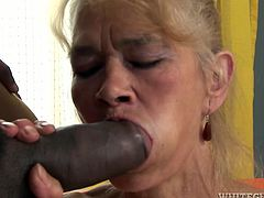 This sex-starved granny is a natural born cock sucker. She takes a massive, black cock in her filthy mouth and sucks it passionately like there's no tomorrow.