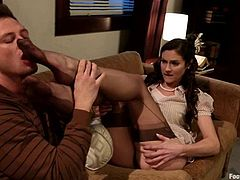 Stunning brunette chick gets her feet and pussy licked by Bill Bailey. After that she gets fucked hard and deep on a sofa.