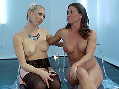 Hot blonde mistress toys her sex slave with a strap-on. Then Ariel X also gets toyed with a vibrator. Both chicks get a lot of pleasure because they love BDSM.
