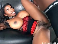 Watch this huge tits babe Vanessa Blue getting naughty with this hot black hunk.Lex Steele fucks her mouth, tits and tight black pussy with his monster cock till she gets her mouth full of his fresh cream.