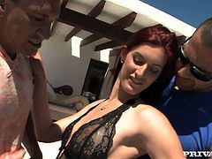 Sultry model is posing for cam outdoor having erotic photoshoot. Horny photographer and his partner seduce redhead model for hardcore threesome fuck outdoor. So she gives them both hot deepthroat blowjob.