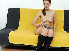 Cute Jennifer Amton slides her pantyhose down the wet pussy in solo session