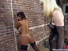 Nasty blonde Cowgirl is having fun with bosomy brunette bombshell Summer Cummings. She torments the girl and then whips her back and ass with a lash.