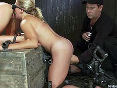 Ariel X and Dia Zerva let some guy chain them in a basement. Then the man makes one of the girls stand on all fours and forces the other to fuck her snatch with a strapon.