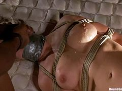 So they hook her up in the bar and then take her outside, where a huge mattress was set up on the pickup. So an insane BDSM gangbang starts!