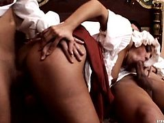 Hot brunette in a vintage dress sucks big big dicks and then lifts the dress up. She gets fucked deep in her pussy and ass.