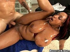 Big-breasted ebony mom Carmen Hayes allows some guy to play with her tits. Then she takes his wang into her snatch and gets it drilled like never before.