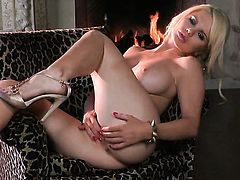 Alexis Ford with huge jugs and hairless twat masturbates with big desire