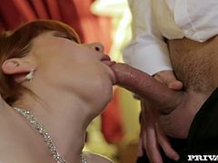 Dirty minded bride gives blowjob to her groom's best man while getting her wet cunt fucked on her side from behind. Then she rides cock on top shaking her big ass.
