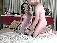 Old horny dude is ready to make that skinny brunette pleased and fuck her hard from behind after she made his cock stiff enough for her cunt.