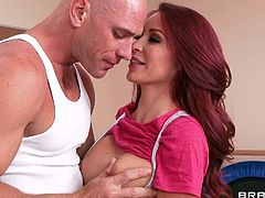 Monique has a fat camp where she pays special attention to those persons that need a serious work out. She puts everyone to work but when this muscled guy enters the room and she sees his fit body, well Monique gets working this time. She kneels like a whore after getting those boobs licked and blows the guy