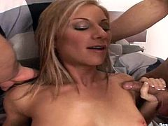Superb blonde girl with perfect body blows two cocks and gets her pussy licked. Later on she gets fucked hard in both holes.