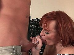 Come and see a vicious mature redhead as she sucks a hard cock and gets fisted into kingdom come while assuming very interesting poses in this intense free porn video.