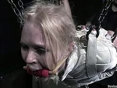 He nails her down on the floor with her legs nearby her head, so that it is easy to access that tight twat of this delightful painsult loving sex slave!