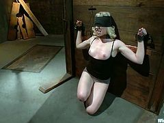 Two submissive chicks get tied up and blindfolded by their mistress. Later on they get tortured with electricity and toyed deep with massive dildo.