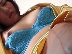 Chubby asian exposes her tits and rubs her hairy twat in sexy outdoor solo