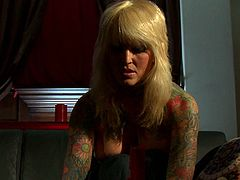 White Sexy MILF with tattoos all over her body sucked the Dick of her husband's best friend who cameto visit her as usual in her bedroom. She then rode his dick like a crazy cowgirl in her bed