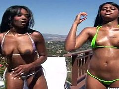 Make sure you have a look at this hardcore scene where these sexy ebony babes with amazing asses have a threesome with a large dick.