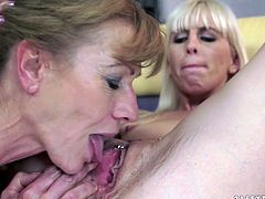 A blonde girl is going to have hot lesbian sex with a mature lady in this clip where they lick pussy with lust.
