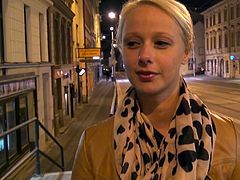 Aroused dude notices a lascivious blondie walking down the street. She bares her small perky tits for him and later heads home for hardcore sex orgy in peppering Mofos Network sex video.
