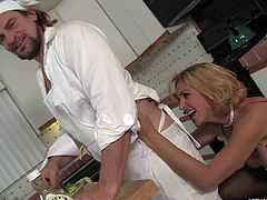 Chef Evan Stone is cooking dinner for milf Roxanne Hall. As he tosses the salad for dinner, she tosses his salad. She bends him over the kitchen island and licks all of his butthole. Then she sucks cock and licks his balls.