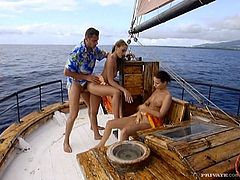 Claudia Rossi and Maya Gold go on a vessel trip with this guy who will take them to the middle of the sea and have an anal threesome with them there.