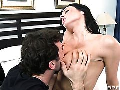 Kendra Lust with giant tits attacked by rock solid dick of James Deen