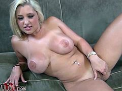 Curvaceous Dana Vendetta lies on a sofa with her legs wide opened. She gets her vagina licked by some dude. Then she also toys herself with big dildo.