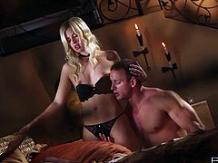 Some tender love is going on in here! Beautiful blond chick takes her sexy dress off and lets her man own her! And he is going to own her so hard!