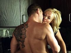 Nacho is training with his hot blonde. He teaches her some moves but the real lesson begins in the kitchen, after the training. He's tensed so they go in the kitchen where he has a snack, her delicious pussy. The guy puts his head between her thighs and eats her cunt with appetite, then fucks her mouth.