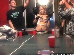 Students party hard during an insane college graduation celebration. Slutty chics drink a lot before they start rubbing their half naked bodies over each others during steamy dance.