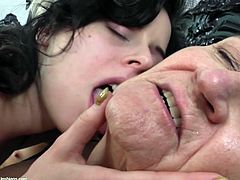 These two mature lesbians have been around the block a few times and now they are in need of young pussy. They have invited over their young neighbor who has a thing for older women. The old lesbians get their boobs licked by the young girl and the young girl enjoys doing so.
