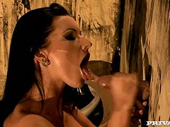 Two sexy brunettes Cindy Hope and Nikky Rider wearing fishnet costumes are having fun in a basement. They suck pricks sticking out of gloryholes and moan sweetly with pleasure.