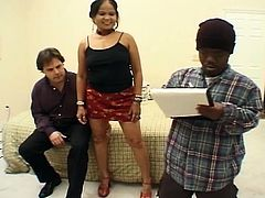 Chunky asian with big tits gets gangbanged by three other guys hot for her dripping pussy! Asian whore really enjoys getting a big white cock shoved in her mouth and big black cock in her tight tiny pussy.