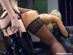 Sexy blonde maid Abbey is having fun with dominating blonde Chanta-Rose. They play BDSM games and then Chanta smashes Abbey's vag with a strapon.
