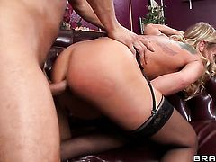 Simone Sonay gets the hole between her buttocks banged by Danny Mountains rock solid meat stick