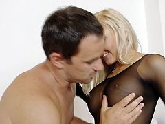 Slutty blonde goes nasty with a huge dick stroking her during pantyhose fetish porn