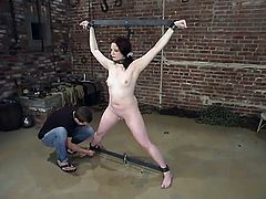 This desirable and smoking hot babe Claire Adams is under the BDSM treatment. Babe gets suspended and some spreader bars keep her knees and legs wide open!