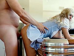 Blonde wife gets kinky on pool table as she opens her wet pussy for this gorgeous hunk in this horny role play show. She enjoys being the maid and does whatever her master wants her to do.