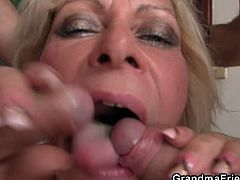 Watch this horny granny in stocking smoking on couch, while two guys strips for her and fucks her hard.Before getting fucked she sucks on both young hard cocks.