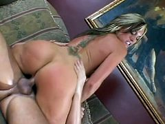 What a sizzling and sexy babe FLower Tucci is! Honey gets naked and lets him enjoy her ass. Then she sucks him, rides his cock and gets some facial!