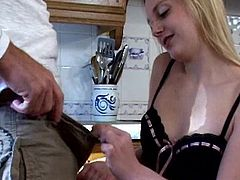 Insolent blonde loves the taste of hard cock sliding deep in her warm mouth