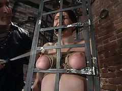 THis gorgeous sex slave gets inflicted to the fantasies of her sex master. He ties her its up and runs a toy in her muff. Then babe get back in the cage!