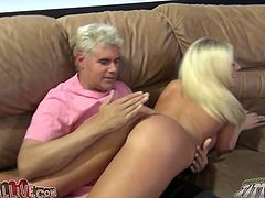 Busty blonde Rilynn Rae gets her vag fingered and banged doggy style