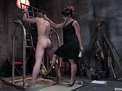 Wolf Hudson is getting naughty with some brunette bitch in BDSM scene. He lets the skank tie him up and then pleases her with cunnilingus and gets his ass destroyed with a strapon.