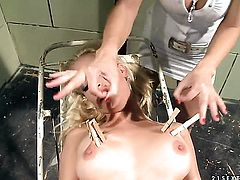 Blonde Katy Parker with giant knockers is in sexual ecstasy with Gina D