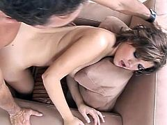 She gives extra blowjob before having this fat cock pounding her juicy twat